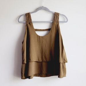 Anthropologie HD In Paris Top Blouse Olive 6 M
